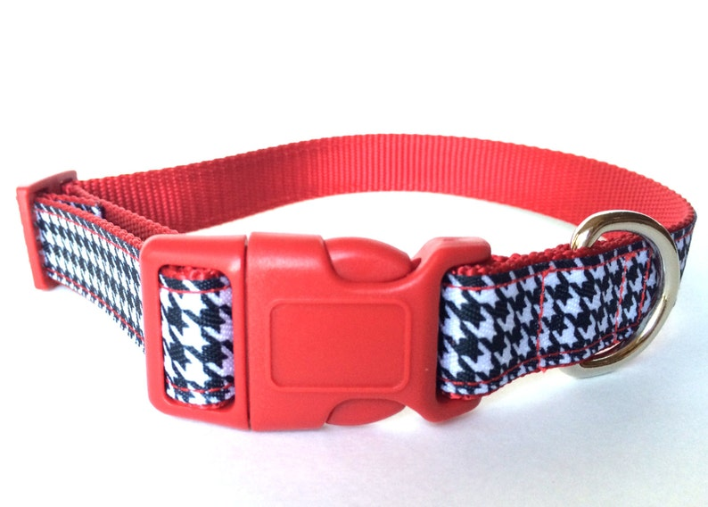 White and Black Houndstooth Dog Collar  Adjustable Striking image 0