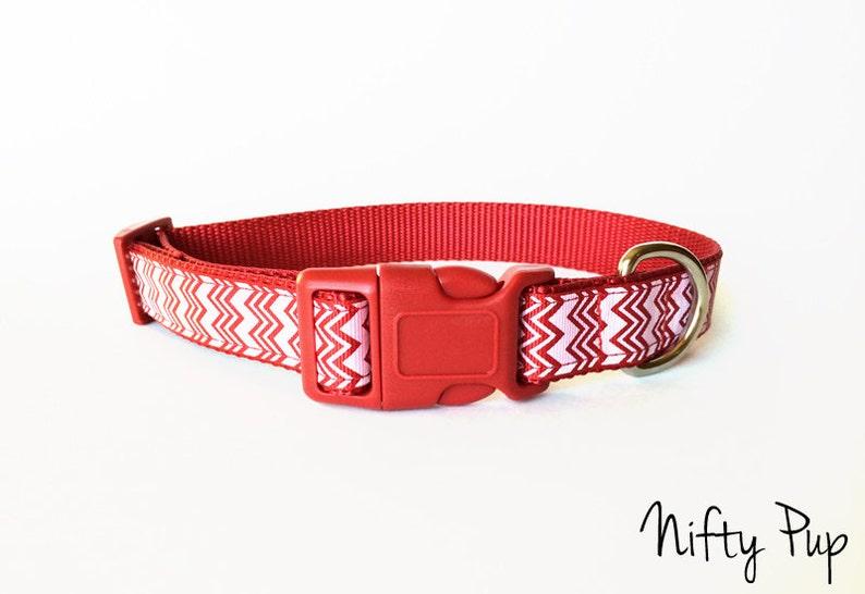 Christmas Red and White Chevron Dog Collar  Adjustable image 0