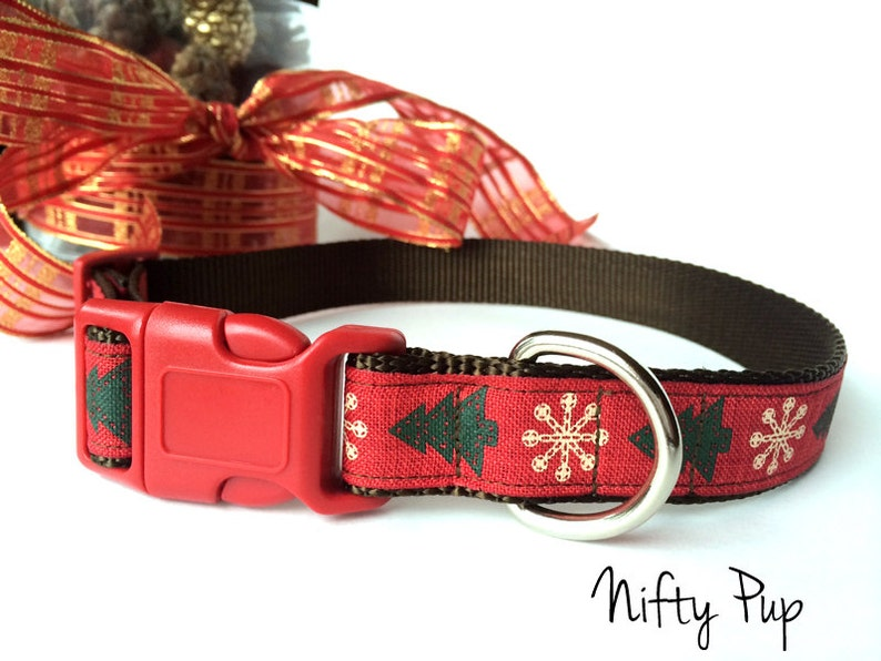 Christmas Tree Dog Collar  Snowflake Rustic Holiday image 0