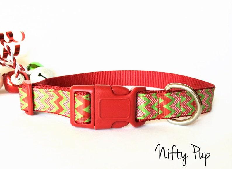 Christmas Red and Green Chevron Dog Collar  Adjustable image 0