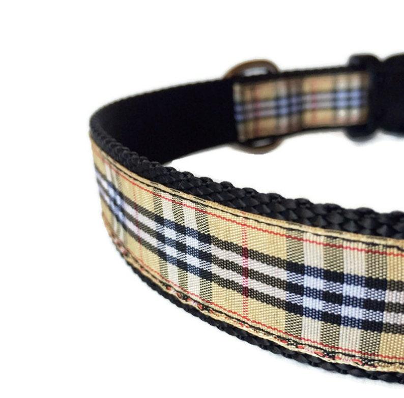 Black Red and Tan Tartan Dog Collar  Adjustable Handsome image 0