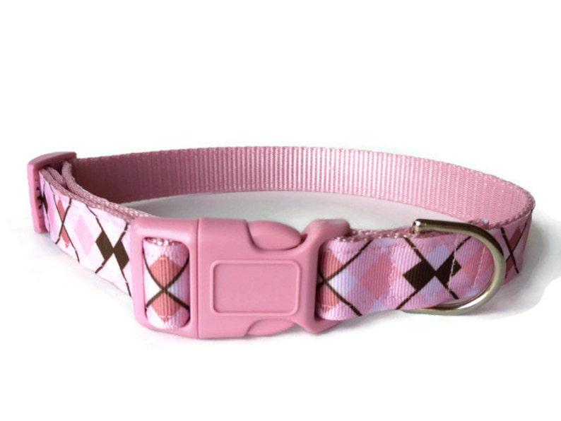 Pink and Brown Argyle Dog Collar  Adjustable Plaid Tartan image 0