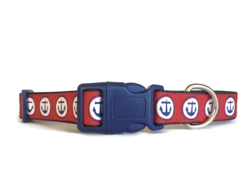 Nautical Anchor Red White and Blue Dog Collar  Adjustable image 0