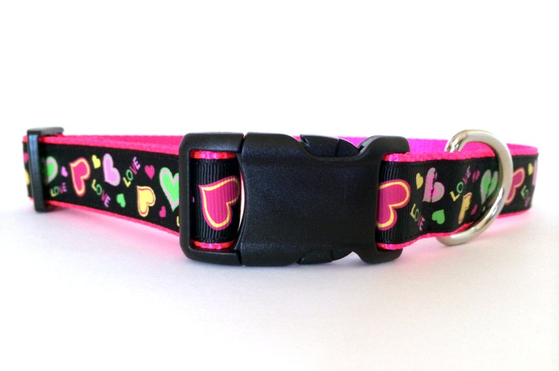 Valentines Day Neon Pink and Black Dog Collar  Adjustable image 0