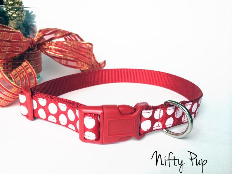 Red and White Polka Dot Christmas Dog Collar  Adjustable image 0
