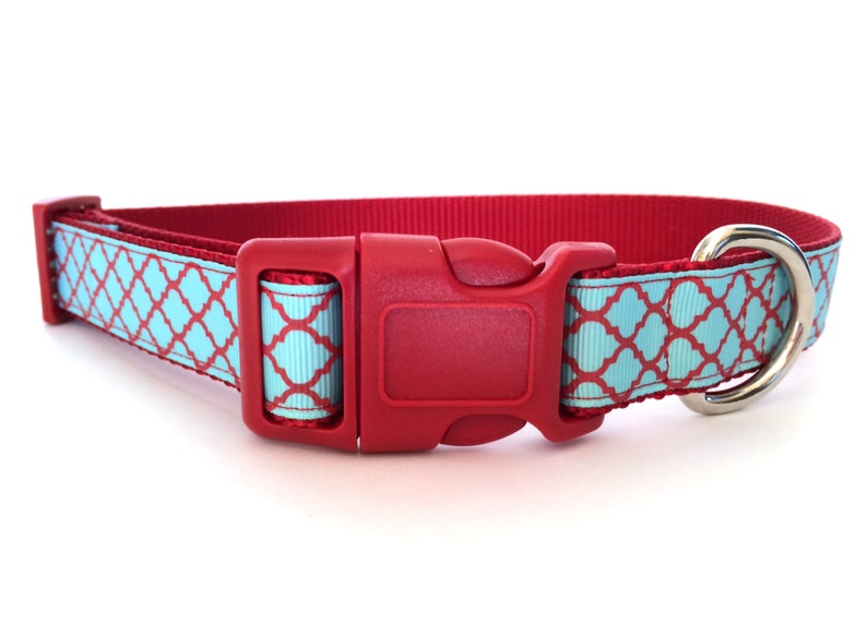 Red and Teal Quartrefoil Dog Collar  Adjustable quarterfoil image 0