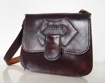 Vintage leather belt bag .