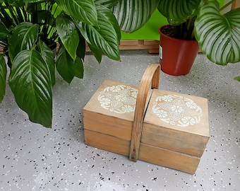 Vintage Folk Small Wooden Sewing Box
