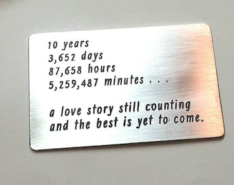 10 ten tin year Anniversary gift ~ Wallet Insert card ~ Custom ~ Personalized ~ Husband Wife Couples gift