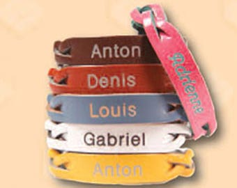 Personalized Leather Bracelet Size Extra Small (Toddler)