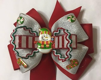 Wonderful Christmas Hair Bow for your Daughter . All handmade by me.