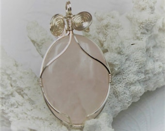 Rose Quartz Wire Wrapped Cabochon Pendant Tarnish Resistant Silver Wire Free Shipping
