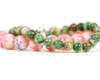 Green Blue Peruvian Opal Bracelet, Natural Gemstone Stretch Bracelet, Jewelry for Her