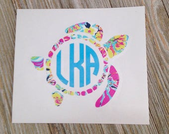 Monogrammed Sea Turtle Decal