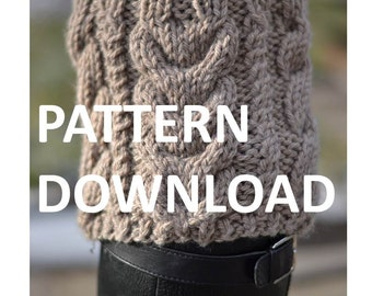 Boot Cuff Nested Cables Knitting Pattern Download
