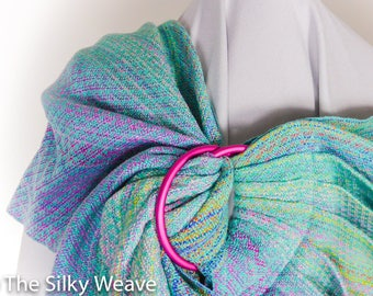 Ring sling, hand-woven, medium size, ready to ship, silk baby carrier, baby shower gift, handwoven fabric
