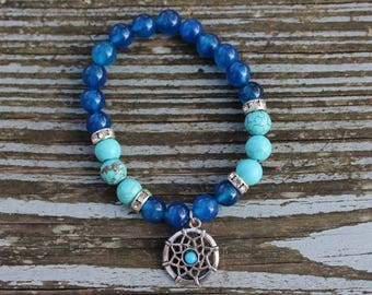 Blue Agate and Turquoise Dream Catcher Bracelet