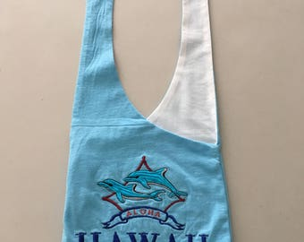Handmade Upcycled Blue Hawaii Hobo Shoulder Purse