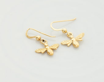d990c55fc Gold Bee Earrings - Gold Bee Dangle earrings - Bumble Bee earrings - Queen  bee earrings - Bee Jewellery