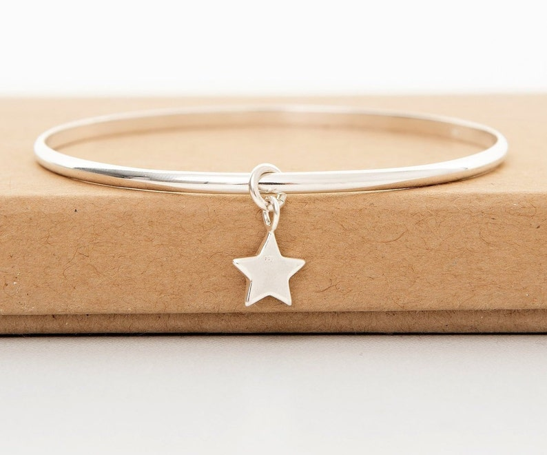 Star Jewellery Sterling silver bangle Star bangle Christmas gift for her Christmas Jewellery Best friend Gift