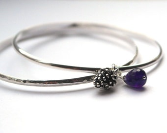 Set of bangles - Stacking Bangle set - 2 Bangles - Two bangles -  Autumn Jewellery - Acorn - Amethyst