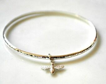 Bee bangle - Bee bracelet - Bee Jewellery - Queen bee - Sterling silver Bangle - Bumble bee bangle - Queen Bee bangle
