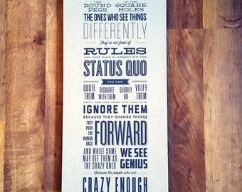 Steve Jobs Crazy Ones Quote Mounted Recycled Kraft Paper Print