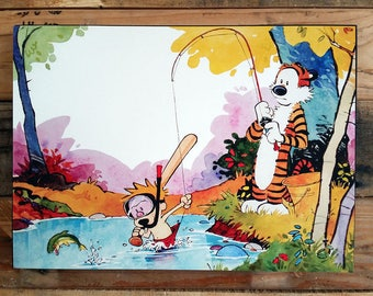 Calvin and Hobbes Fishing Mounted Print 8 x 10""