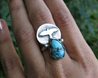 Arise- Sterling Silver Size 6 Ring with Turquoise