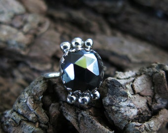 Size 7 Hematite and Sterling Silver Ring