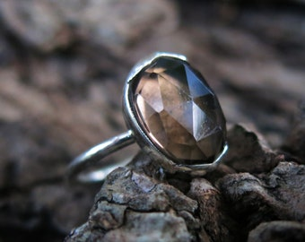 Size 6 Smokey Quartz and Sterling Silver Ring