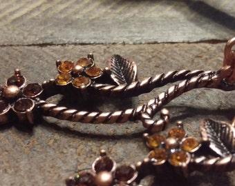 Copper Swarovski crystal drop flower earrings