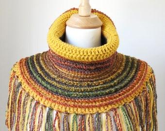 Neck Warmer Scarf, Boho Wool Shawl, Bohemian Clothing, Chunky Crochet Cowl, Unique Fringed Poncho, Mustard Yellow Tube Scarf, Fall Colors