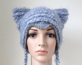 fada12be3d91f7 Women's Cat Hat in Grey, Cute Teen Girl Gift, Soft and Fuzzy Kitty Ear  Beanie