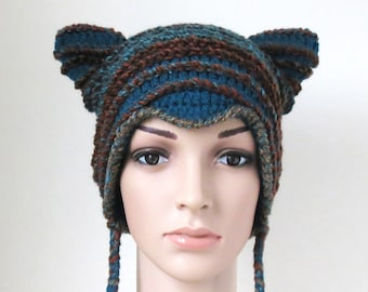 9211ed598606d1 Cat Ear Beanie in Teal Blue and Brown Unique Crochet Winter Hat for Women  and Teens