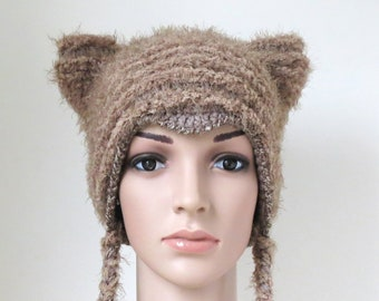 0d79be03192 Cat Ear Beanie in Teal Blue and Brown Unique Crochet Winter