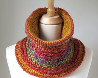 Chunky Crochet Cowl in Orange Red and Yellow, Vegan Neck Warmer