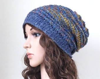 3c81a3baaa0b07 Women's Hemp Beanie, Soft Wool Slouchy in Blue, Hat in Natural Fibers