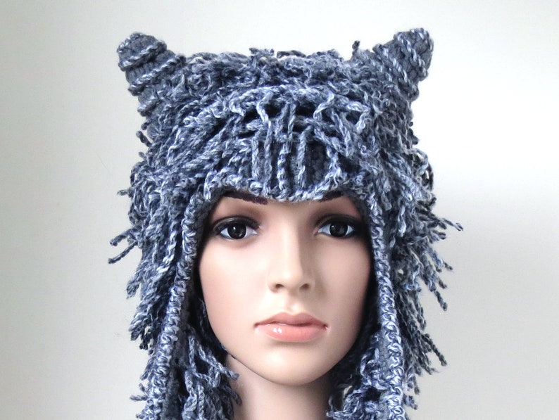 a6903ea844e30 Unique Winter Hat with Horns Fuzzy Animal Earflap Hat in