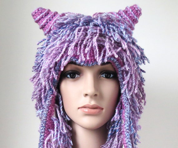 Pink Winter Hat Purple Shaggy Tassels Unique Fun Animal  fa52d31af60