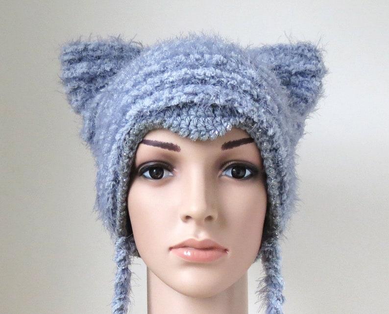 89764845 Women's Kitty Ears Hat in Grey, Soft Fuzzy Faux Fur Animal Hat, Vegan Gifts  for Cat Lovers