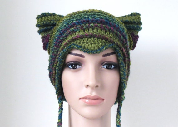 3cfd4d3728f Women s Cat Beanie in Olive Green and Teal Unique Crochet