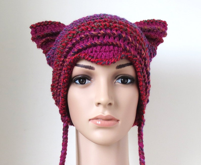 4391c9f8e Pussycat Hat, Purple Pink Magenta, Cute Kitty Beanie for Women and Teen  Girls, Cat Lovers Gifts