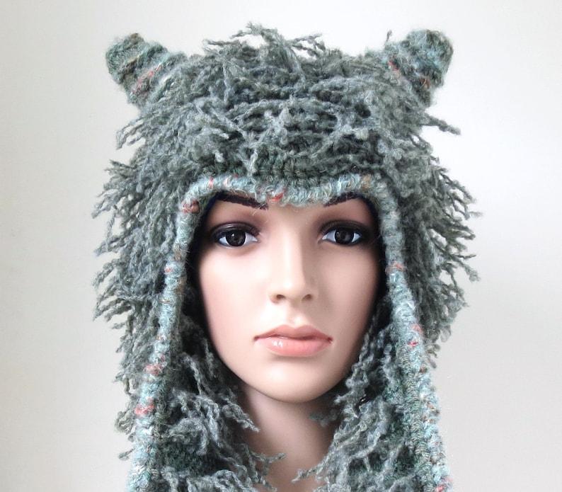 c7d4f8679b1c6 Fun Winter Hat Grey Sage Green Soft Shaggy Woollen Animal