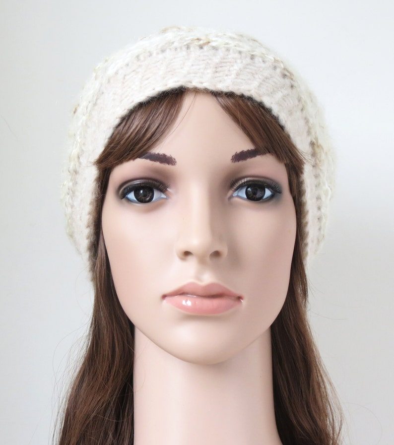 Neutral Colours Off-White and Wheat Soft Slouchy Hat in Alpaca and Merino Wool Mohair Blend