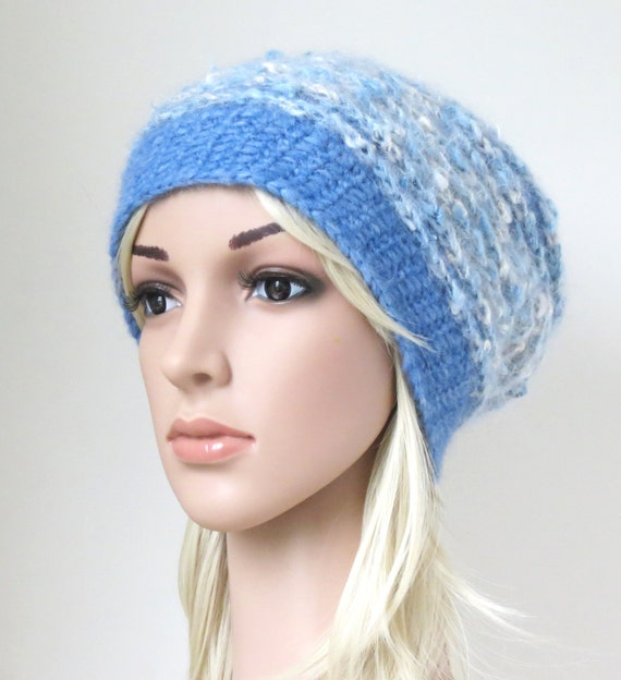 422d5f32be2e6 Slouchy Hat in Alpaca Wool Mohair Blend Sky Blue and White
