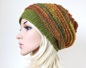 Women's Crochet Hat, Boho Beanie, Green Slouch, Colorful Baggy Hat, Unique Winter Accessory, Women's Slouchy Beanie, Chunky Wool Hat
