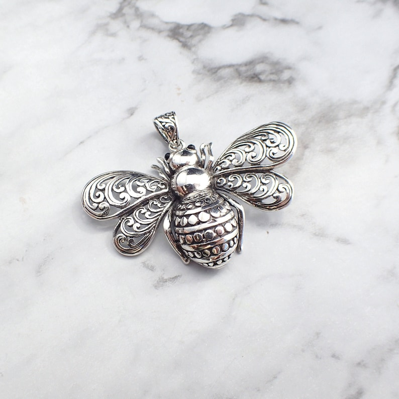 Bumble Bee Necklace Bee Keeper Gift Bee Jewelry Bee Solid Sterling Silver Pendant Honey Bee Necklace Bee Necklace