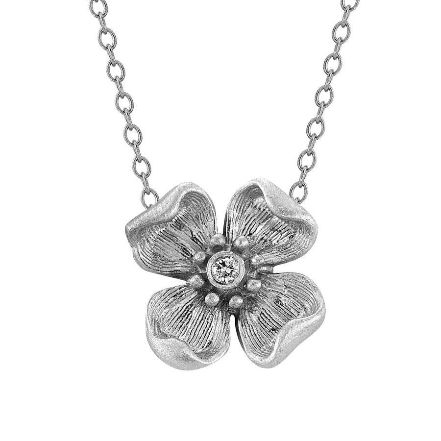 White gold flower necklace silver flower necklace diamond etsy zoom mightylinksfo