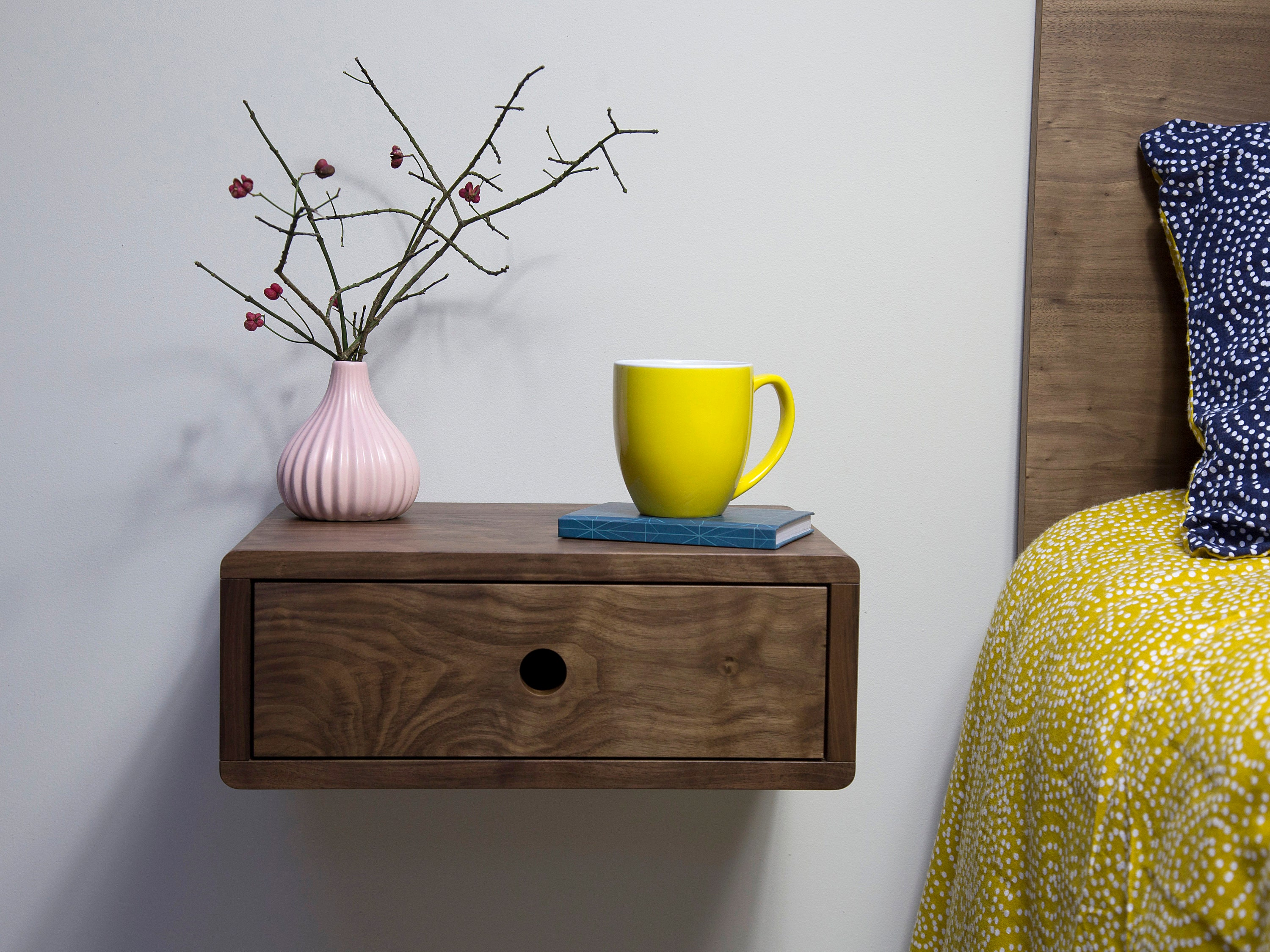 Floating Nightstand Bedside Table Mid Century Nightstand Walnut Bedside Table Wall Mounted Nightstand Modern Wood Bedside Table
